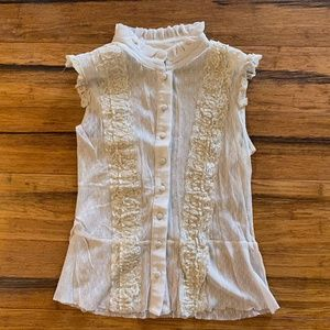 Sheer Lace Cream Button Up Tank